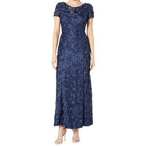 Mothers Gown A-Line Lace Rosette Navy Blue Size 8